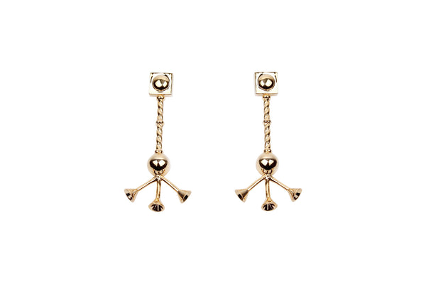 Gold Tripod Earrings