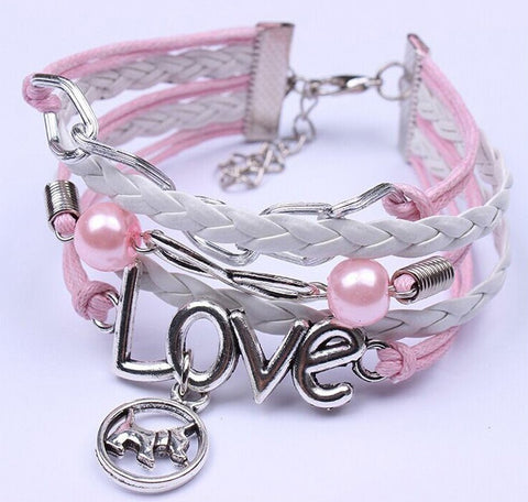 Silver Plated Love Dog Charm With Pink Pearl & White Leather Rope Wrap Bracelet