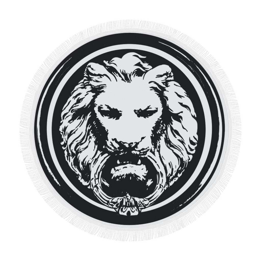round large lion black and white luxury towel sassi apparel