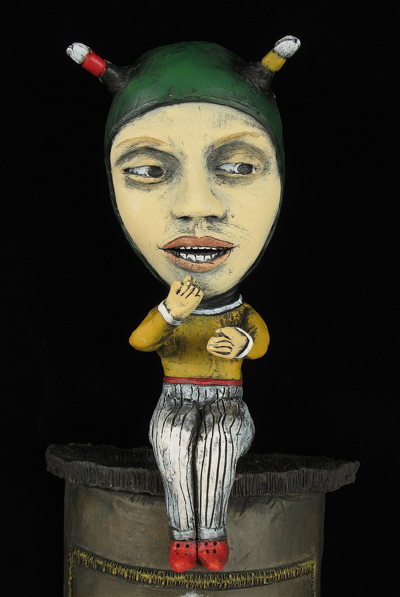 "SOLD   ""Eating Matches"" original ceramic sculpture by Jacquline Hurlbert"