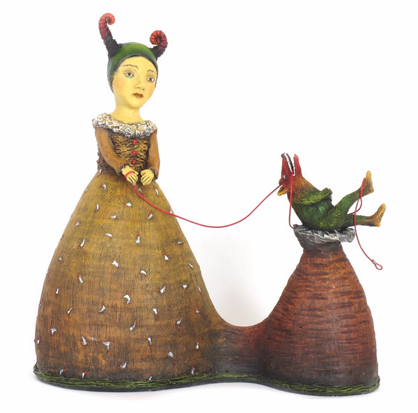 """Her Ego Was Not Fond Of It's Leash""  original ceramic sculpture by Jacquline Hurlbert"