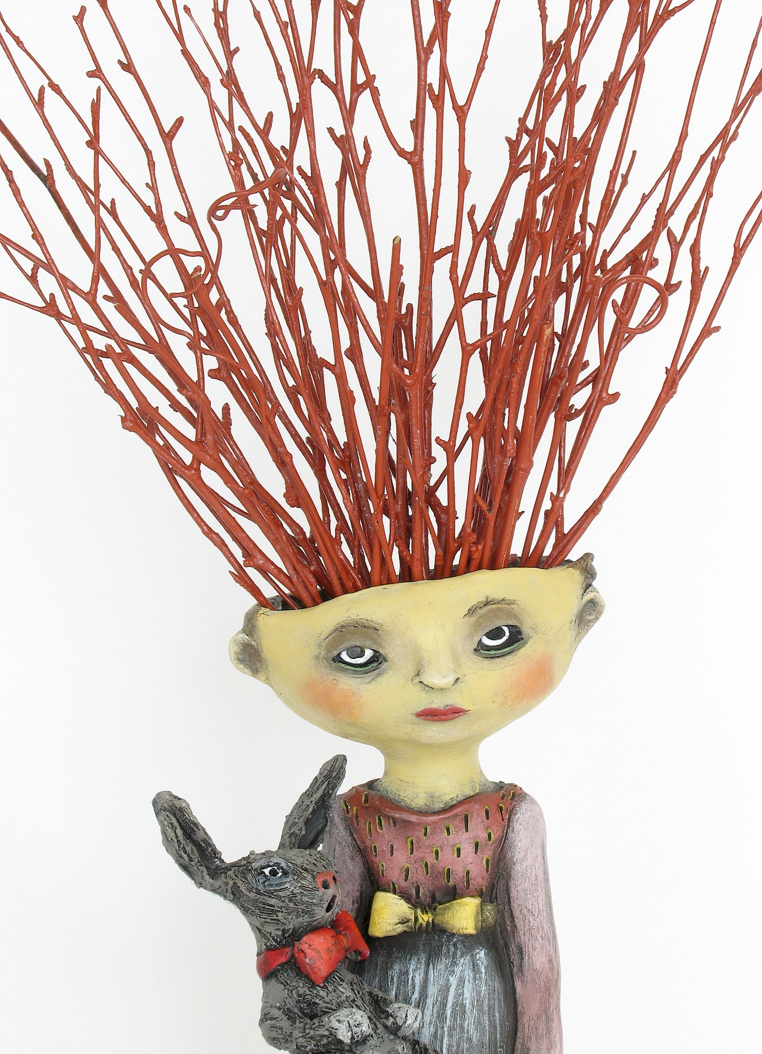 "SOLD  ""Holding On To Innocence"" original ceramic sculpture by Jacquline Hurlbert"