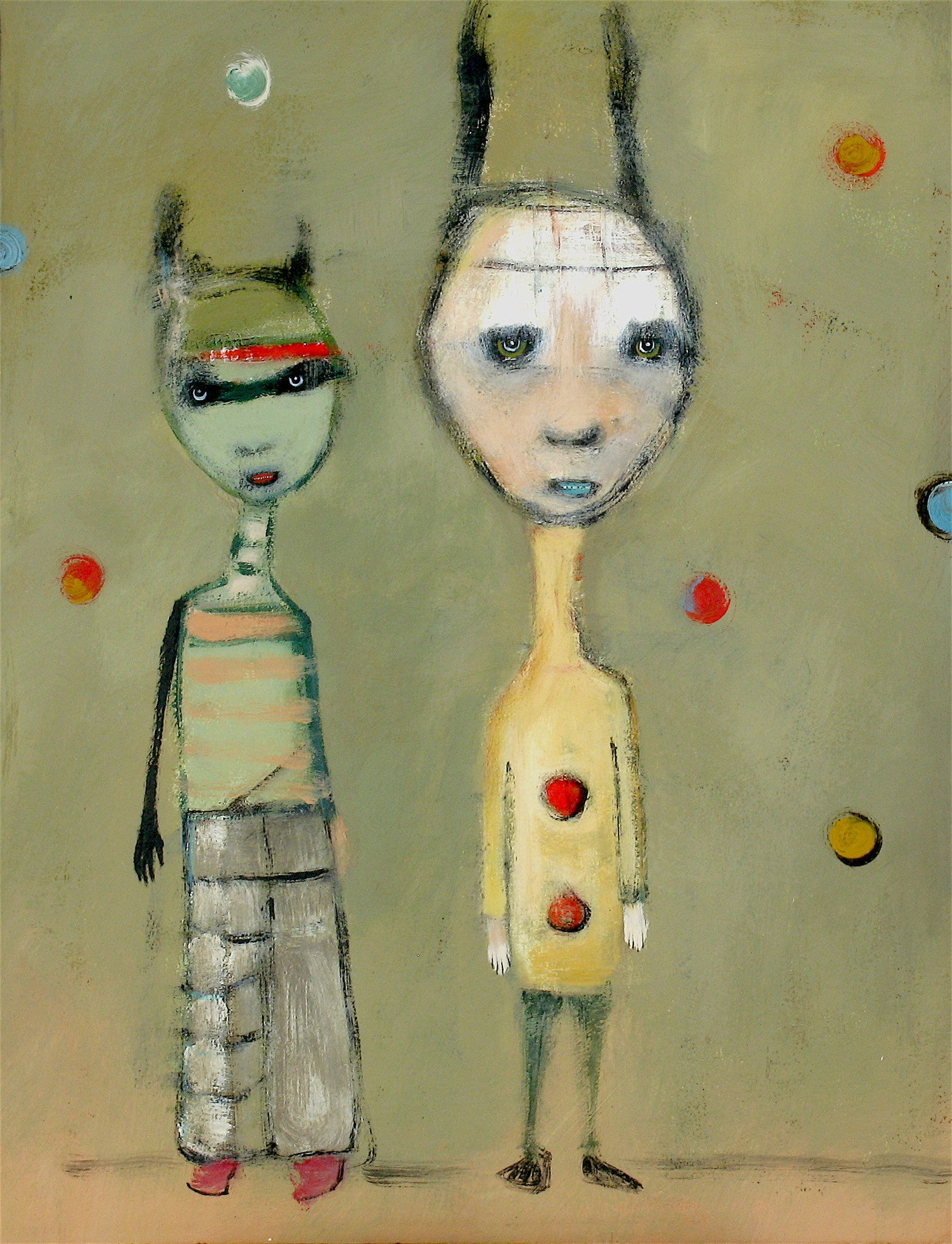 "SOLD ""Unlikely Couple"" original painting by Jacquline Hurlbert"