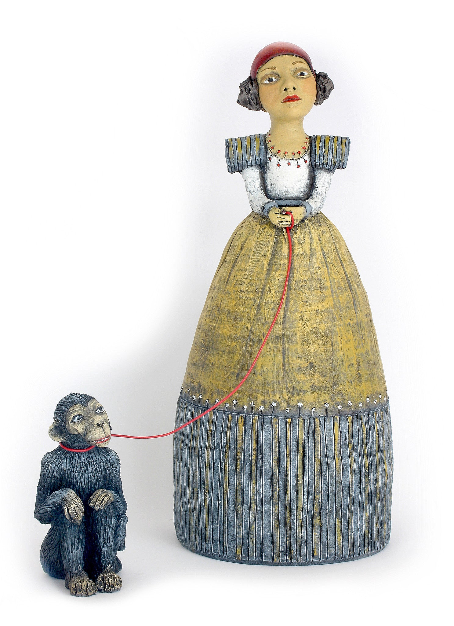 "SOLD  ""Keeping Her Mischief Politely in Check"" original ceramic sculpture by Jacquline Hurlbert"