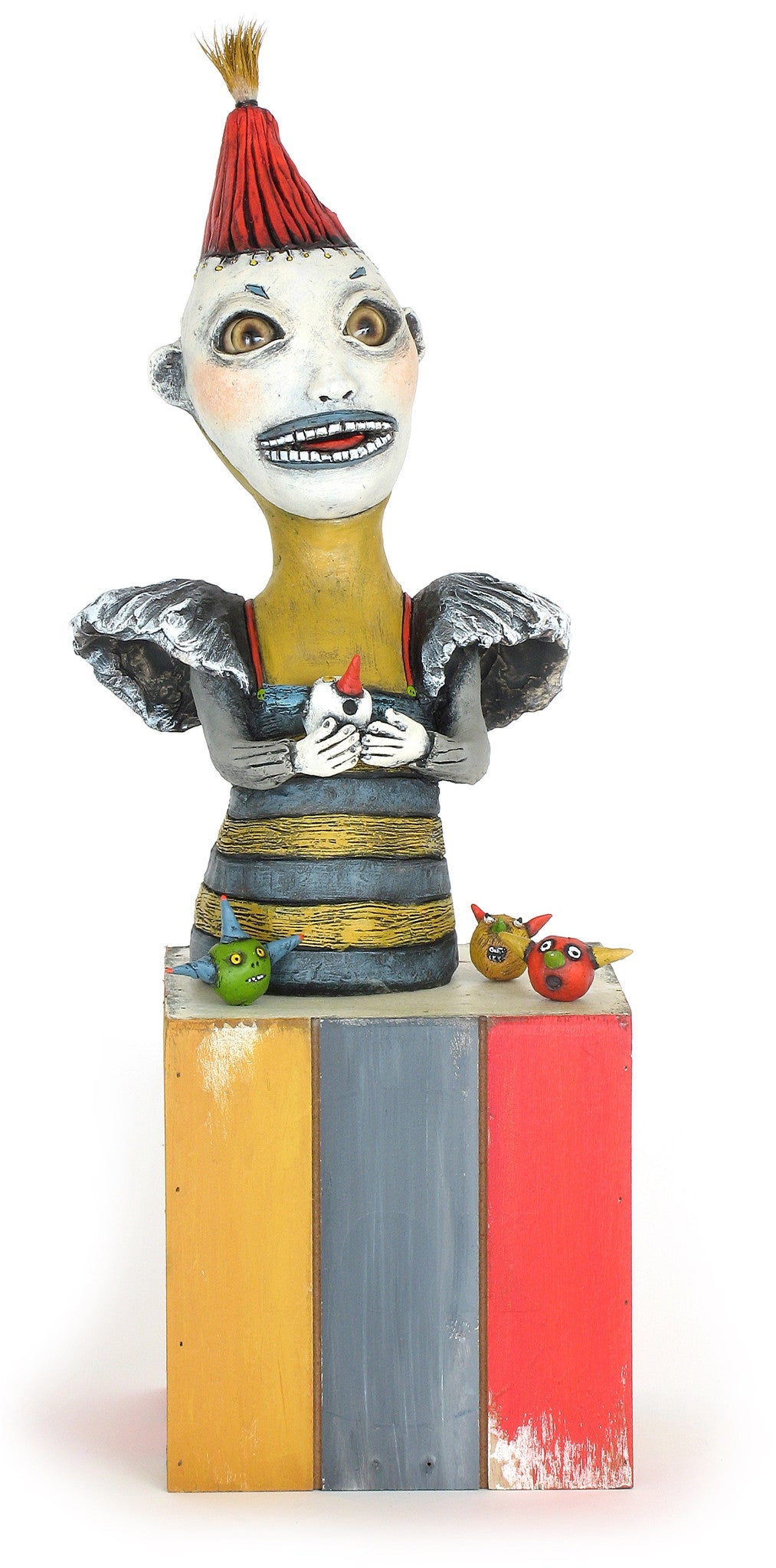 "SOLD ""Toying With Sanity"" original ceramic sculpture by Jacquline Hurlbert"