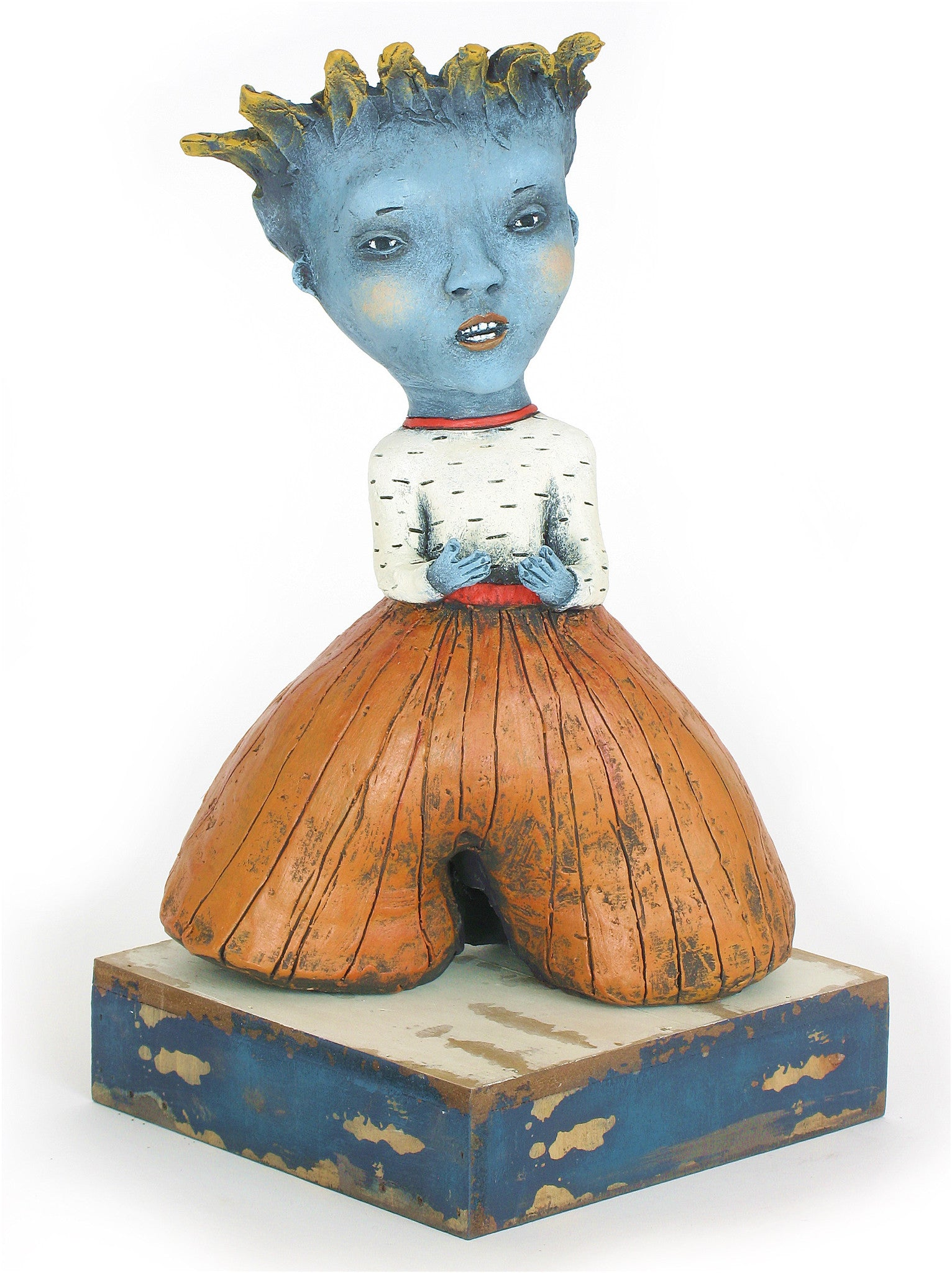 "SOLD        ""SOAP BOX""    original ceramic sculpture by Jacquline Hurlbert"