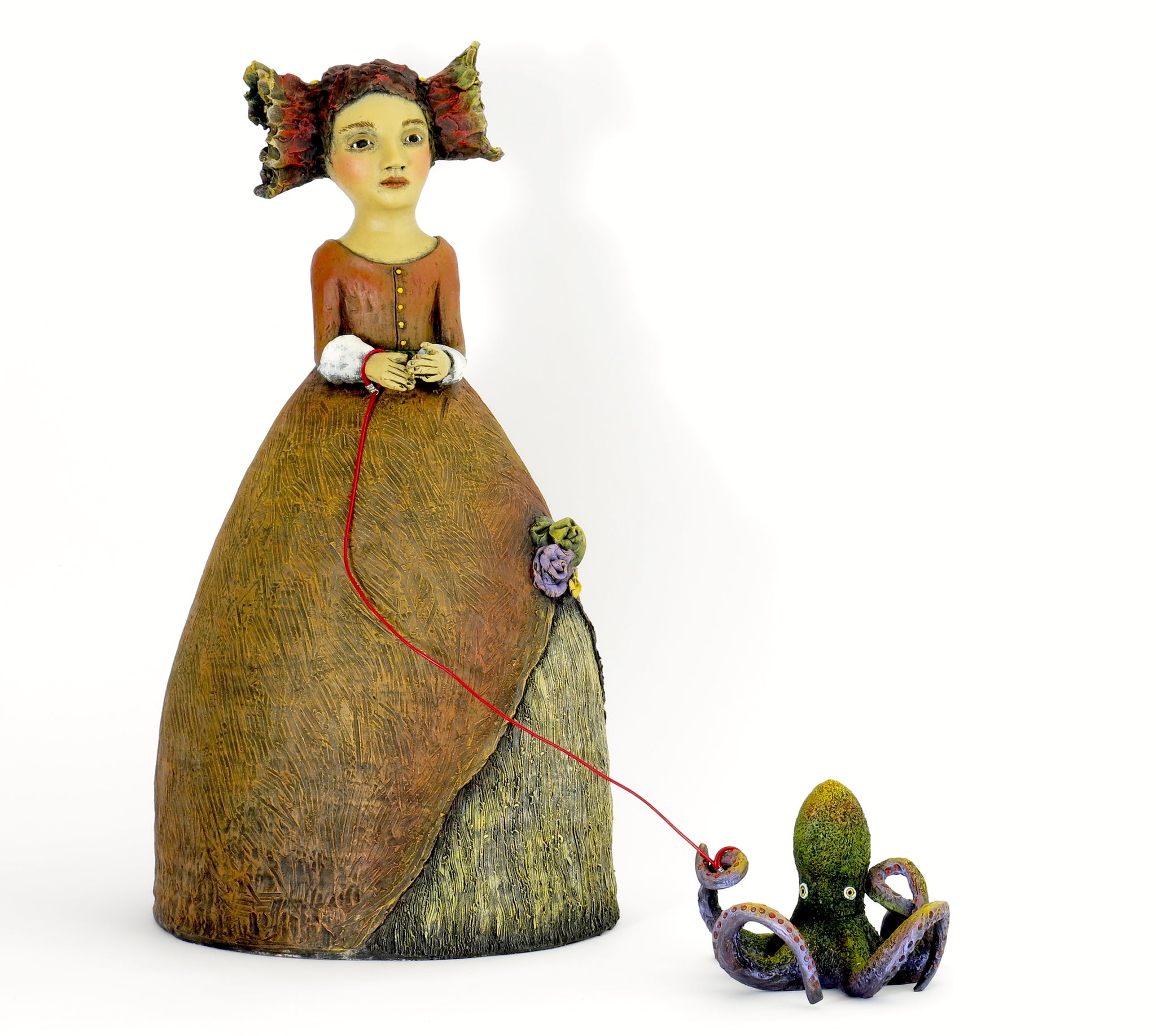 "SOLD  ""Stella Took Every Opportunity to Flaunt Her Idiosyncrasies"" Original ceramic sculpture by Jacquline Hurlbert"