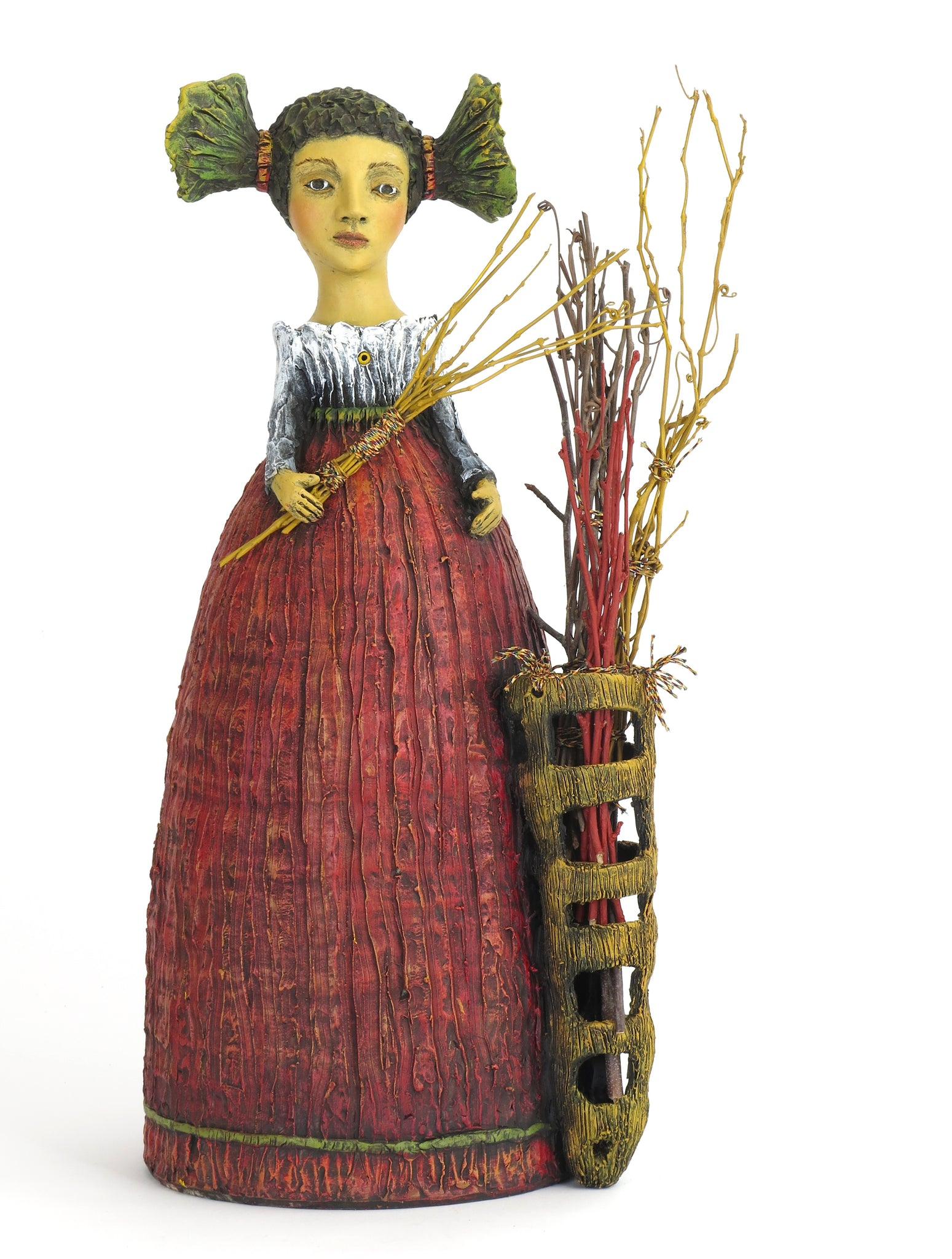 "SOLD  ""Fiona Gathers Sticks to Fortify Her Boundaries"" Original ceramic sculpture by Jacquline Hurlbert"