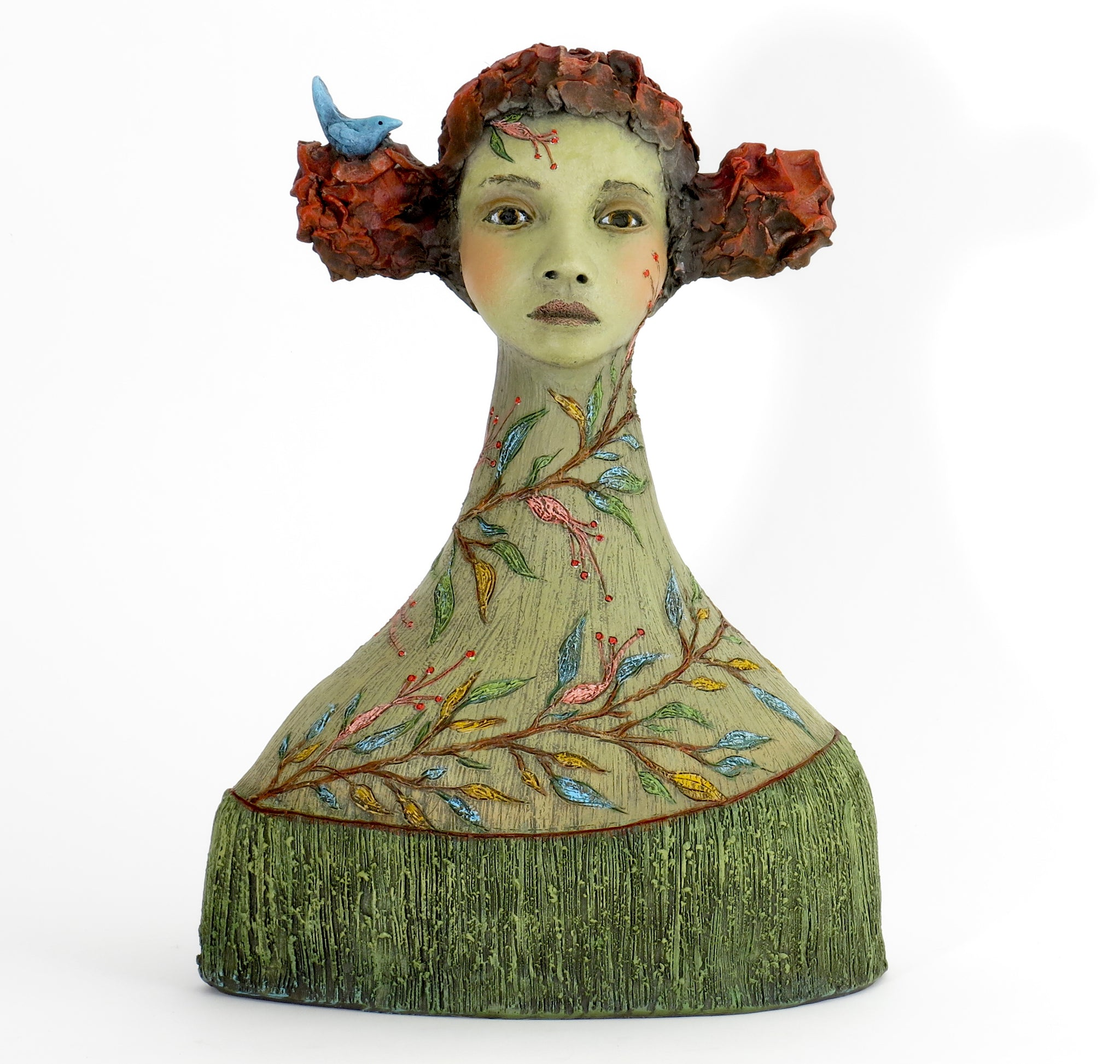 "SOLD   ""Hearing the Voice that Calls Me Home"" Original ceramic sculpture by Jacquline Hurlbert"