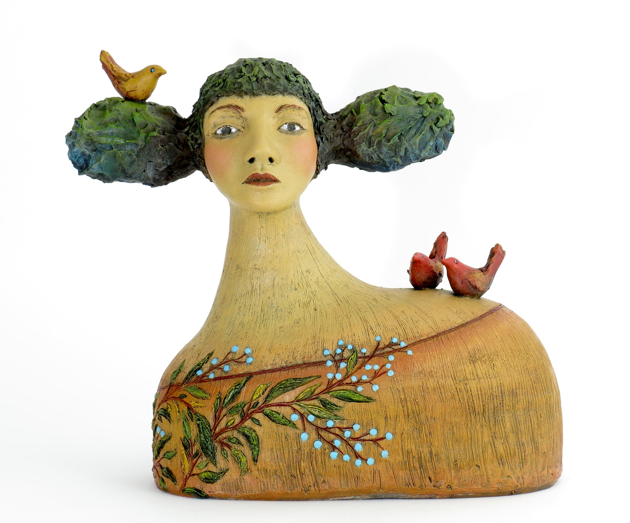 """Isabelle Found a Delightful Alternative to the Chip on Her Shoulder""  Original ceramic sculpture by Jacquline Hurlbert"