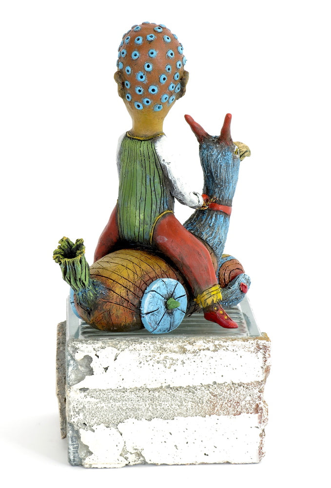 "SOLD   ""Fleeing Reality"" Original ceramic sculpture by Jacquline Hurlbert"