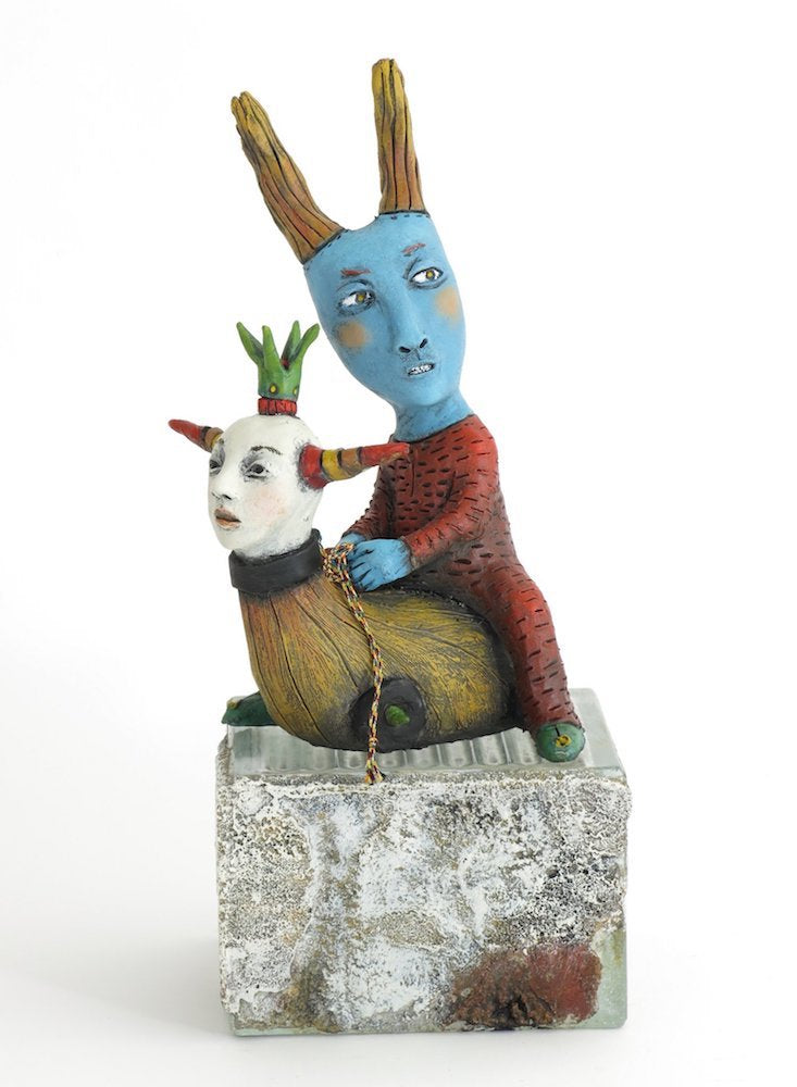 """Making His Escape"" Original ceramic sculpture by Jacquline Hurlbert"
