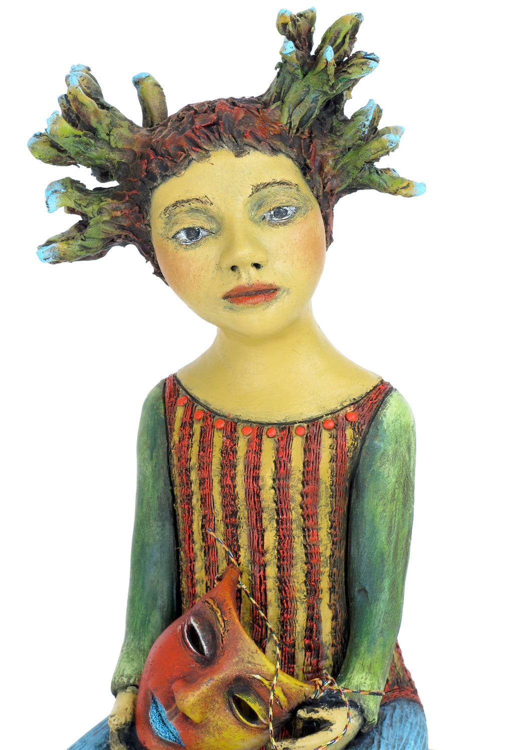 "SOLD   ""Weighing the Cost of Her Masquerade"" Original ceramic sculpture by Jacquline Hurlbert"