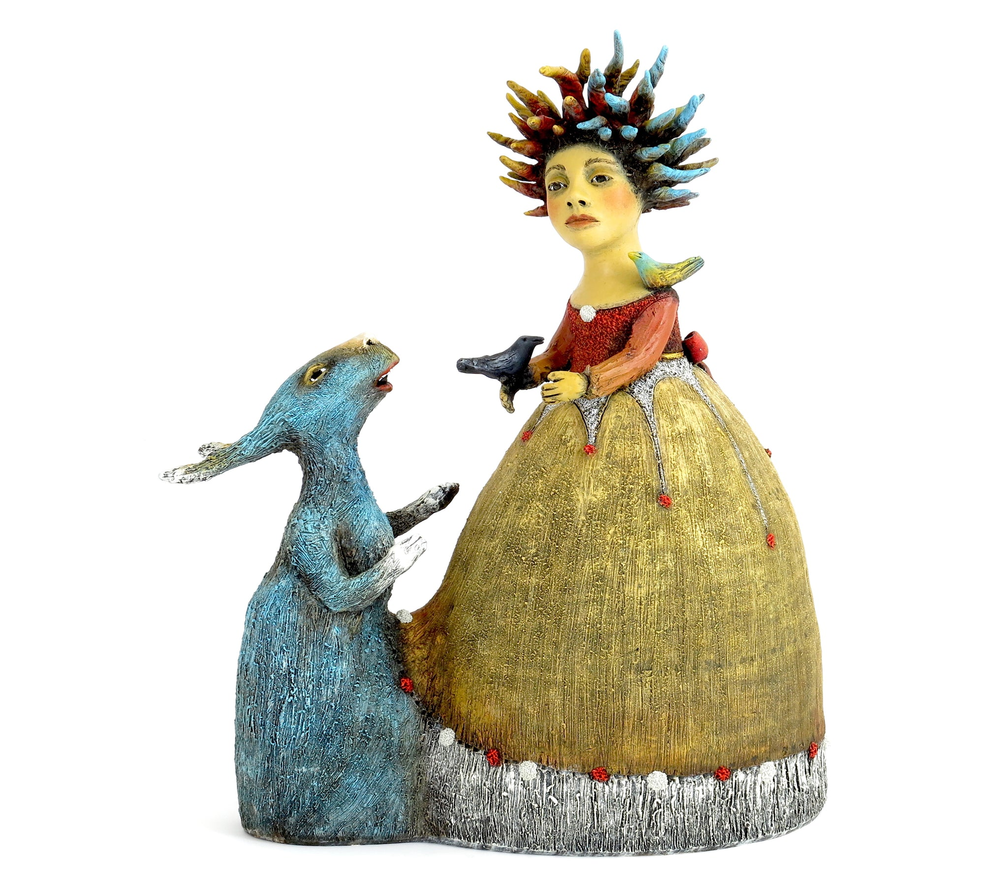 "SOLD  ""Samantha Listens to Her New Therapist"" Original ceramic sculpture by Jacquline Hurlbert"