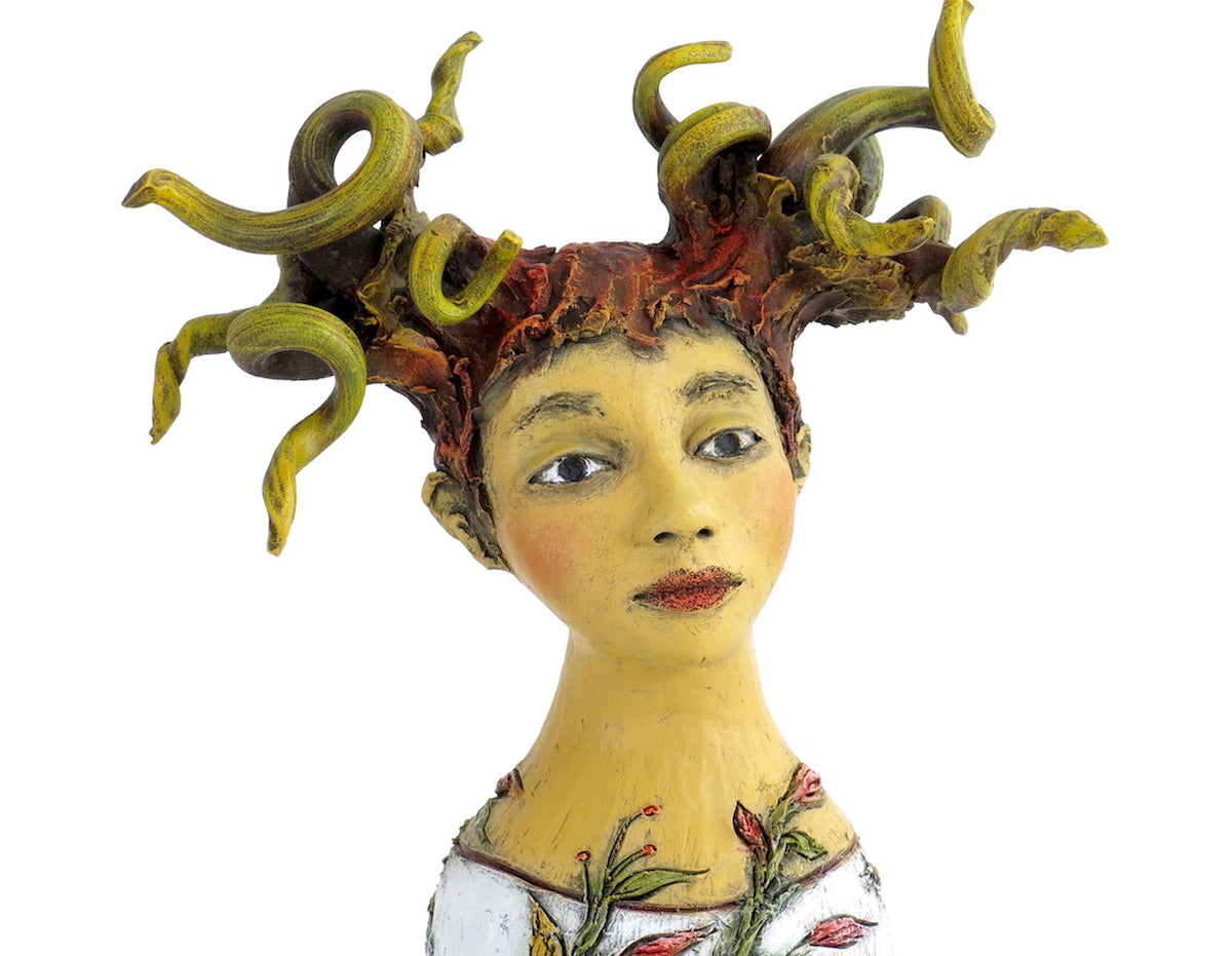 """Red Birds Pay Tribute to Her Transformation"" Original ceramic sculpture by Jacquline Hurlbert"