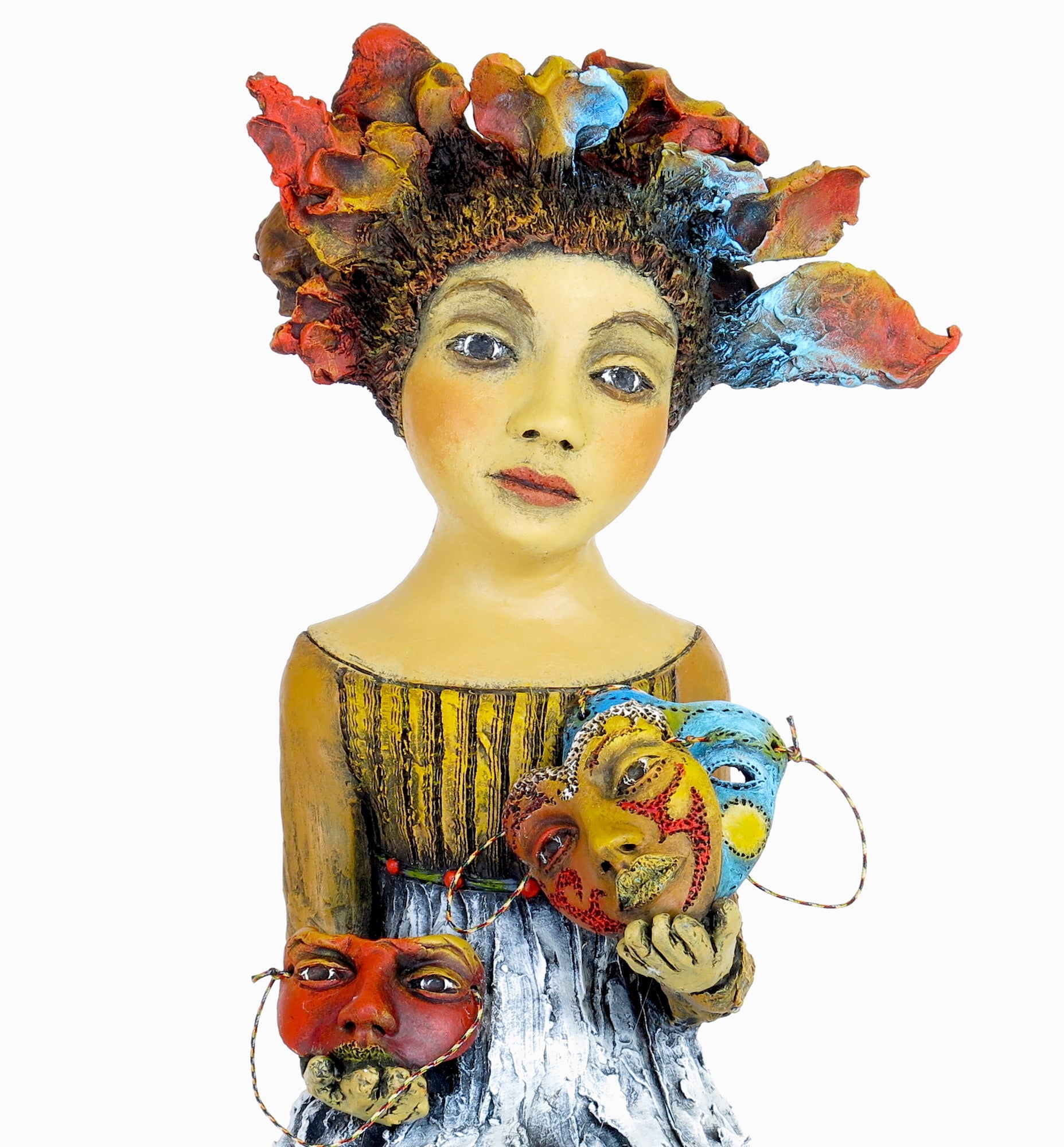 "SOLD   ""Weighing My Options""    Original ceramic sculpture by Jacquline Hurlbert"