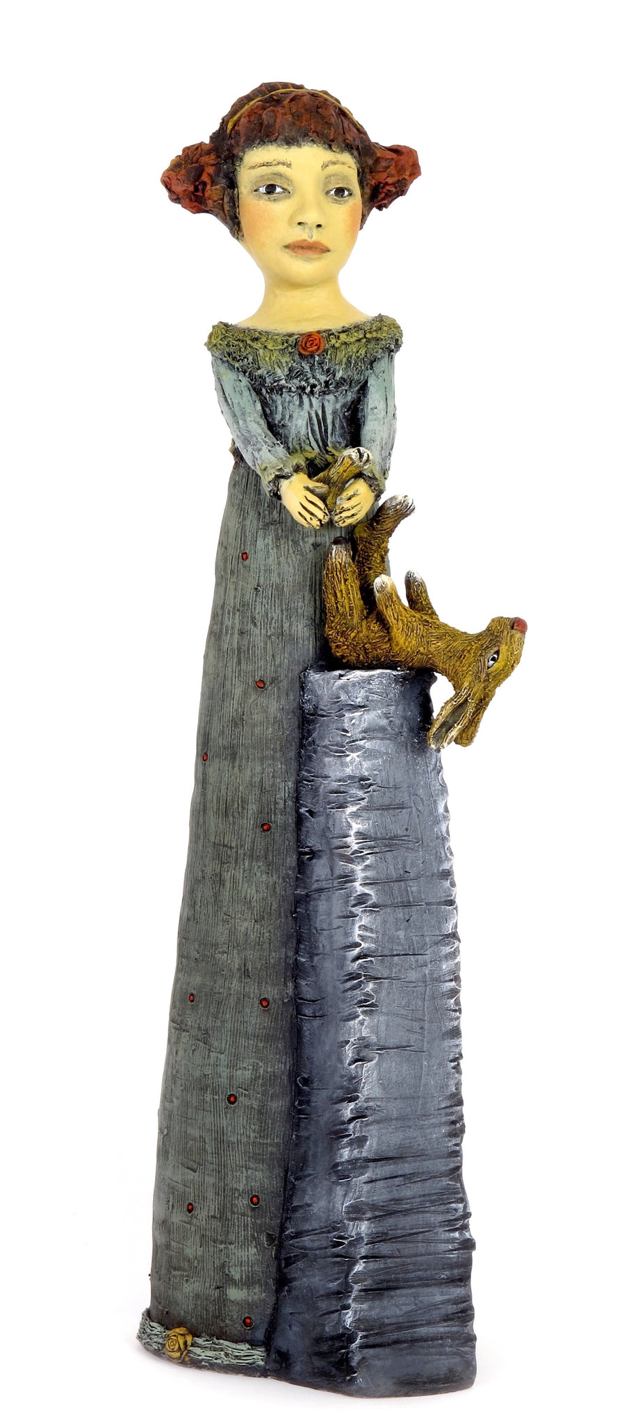"SOLD   ""Returning Lucky's foot"" original ceramic sculpture by Jacquline Hurlbert"