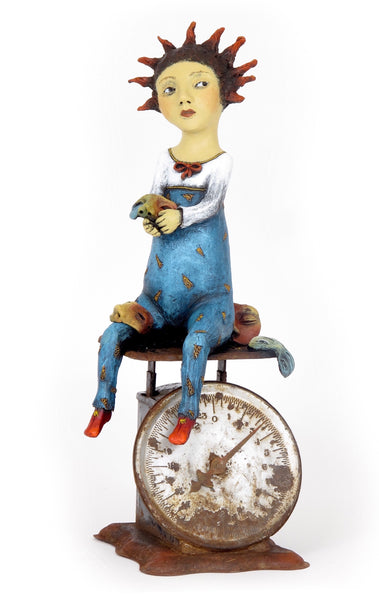 "SOLD   ""Weighing the Cost of Self-Deception"" original ceramic sculpture by Jacquline Hurlbert"