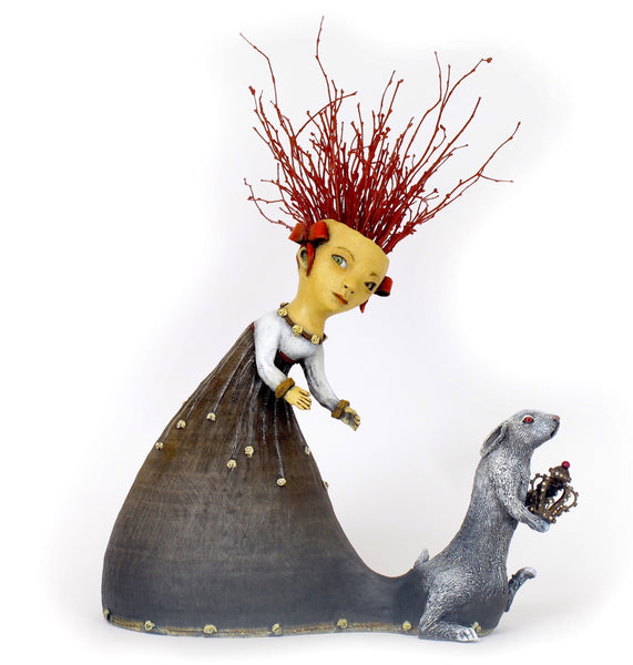 "SOLD   ""White Rabbit Steals the Jeweled Crown"" original ceramic sculpture by Jacquline Hurlbert"