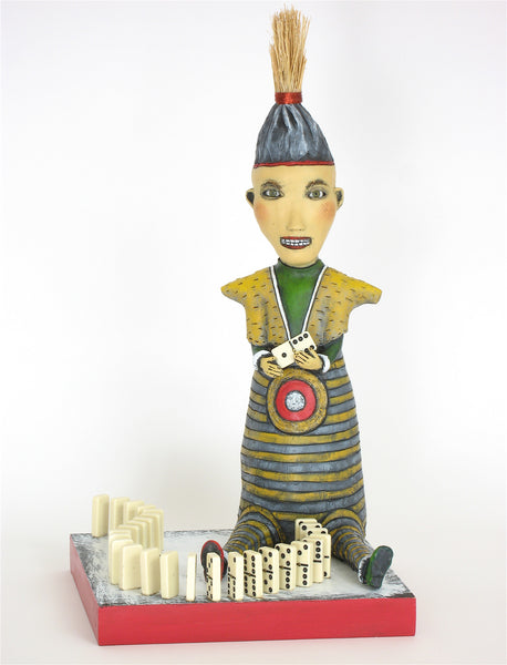 """Domino Effect"" original ceramic sculpture with mixed media by Jacquline Hurlbert"