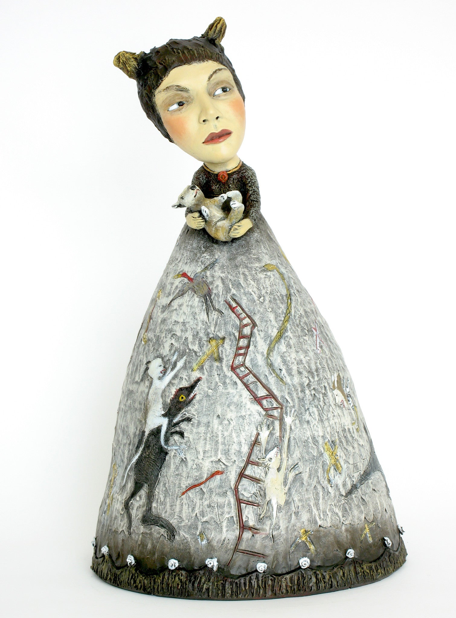 """letting My Little Monsters Out to Play"" original ceramic sculpture by Jacquline Hurlbert"