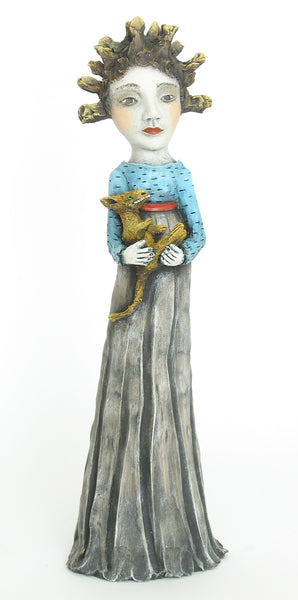 "SOLD  ""Calming the Ego""   original ceramic sculpture by Jacquline Hurlbert"