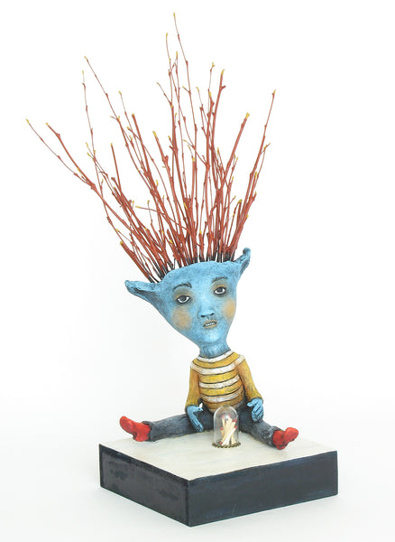 "SOLD   ""A Head Full of Twigs, a Stack of Matches, What Could Possibly Go Wrong?"" original ceramic sculpture with mixed media by Jacquline Hurlbert"