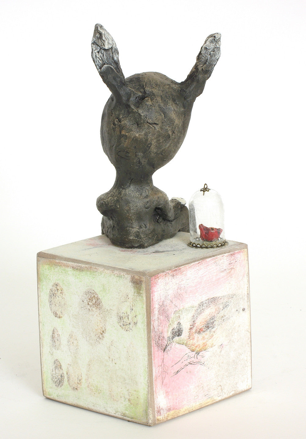"sold   ""In Case of Emergency, Break the Glass""  original ceramic sculpture with mixed media by Jacquline Hurlbert"