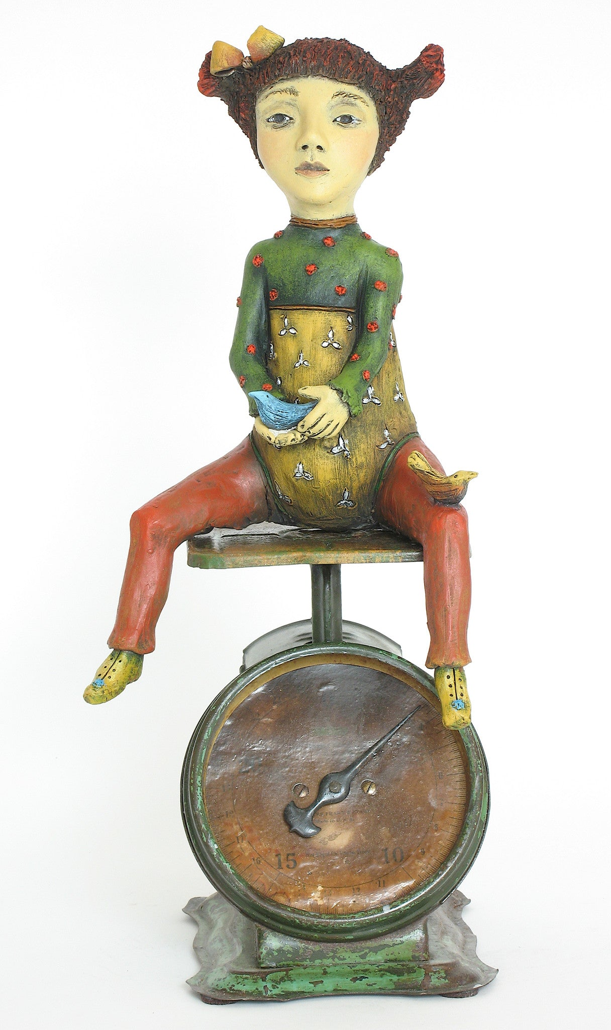 "SOLD  ""Weighing Her Options"" original ceramic sculpture with antique scale"" by Jacquline Hurlbert"