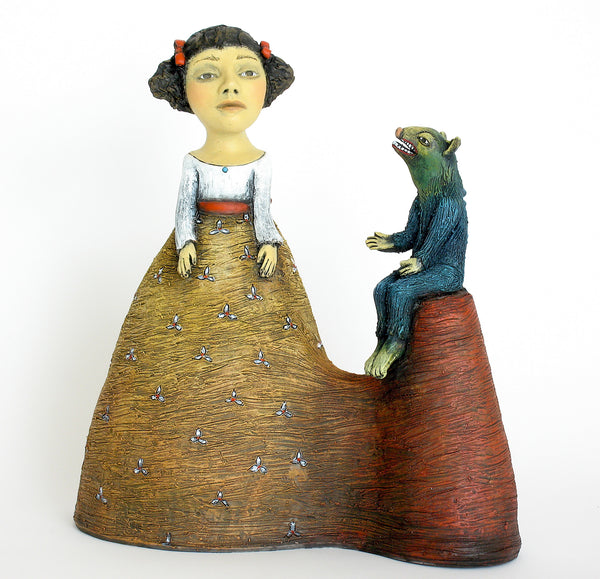 """She Found Herself Ignoring the Voice of Reason, Finding Him an Annoying Little Creature"" original ceramic sculpture by Jacquline Hurlbert"
