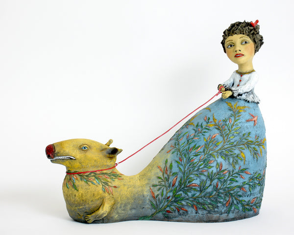 "SOLD   ""Content to Follow Intuition's Lead""   original ceramic sculpture by Jacquline Hurlbert"