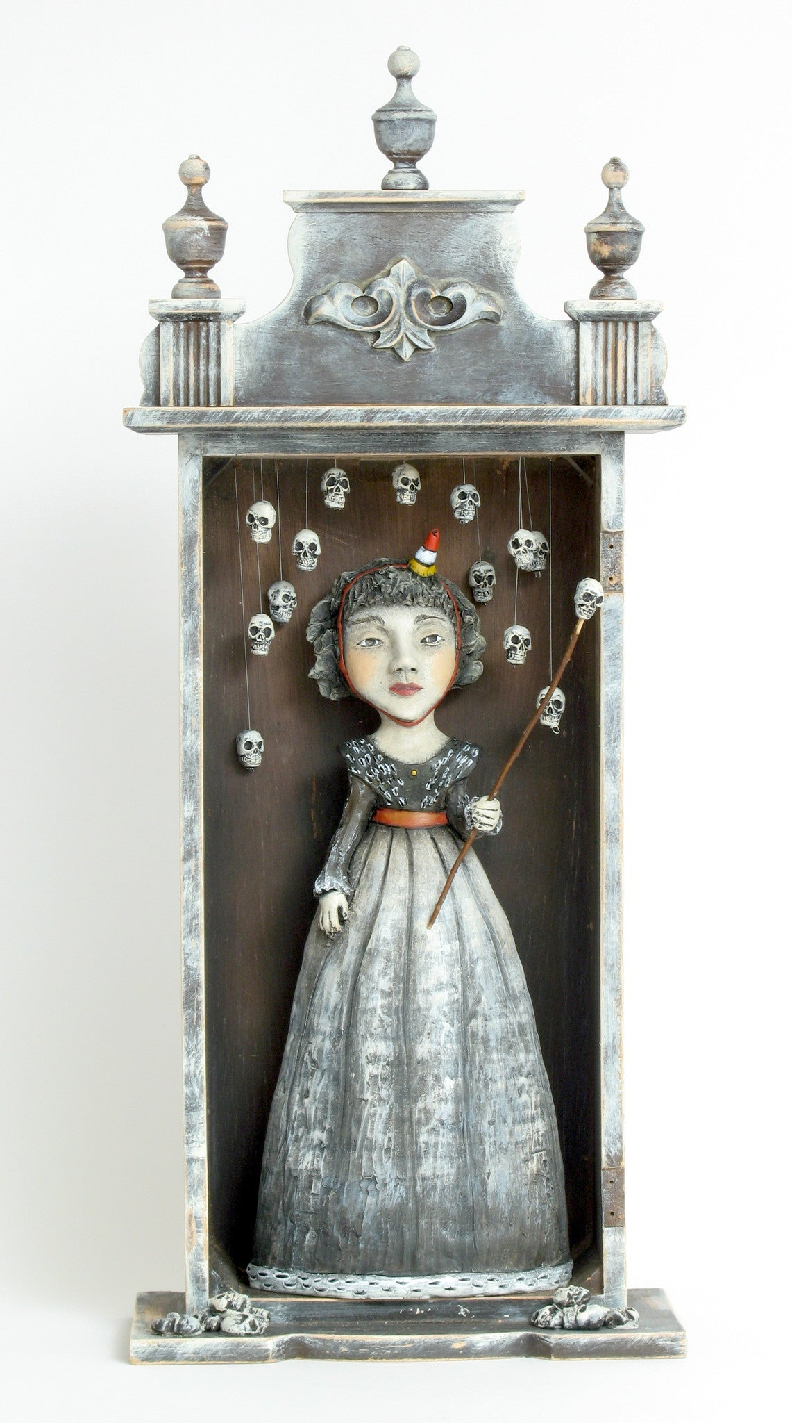 "SOLD   ""Celebrating Past Relationships"" original ceramic sculpture with mixed media by Jacquline Hurlbert"