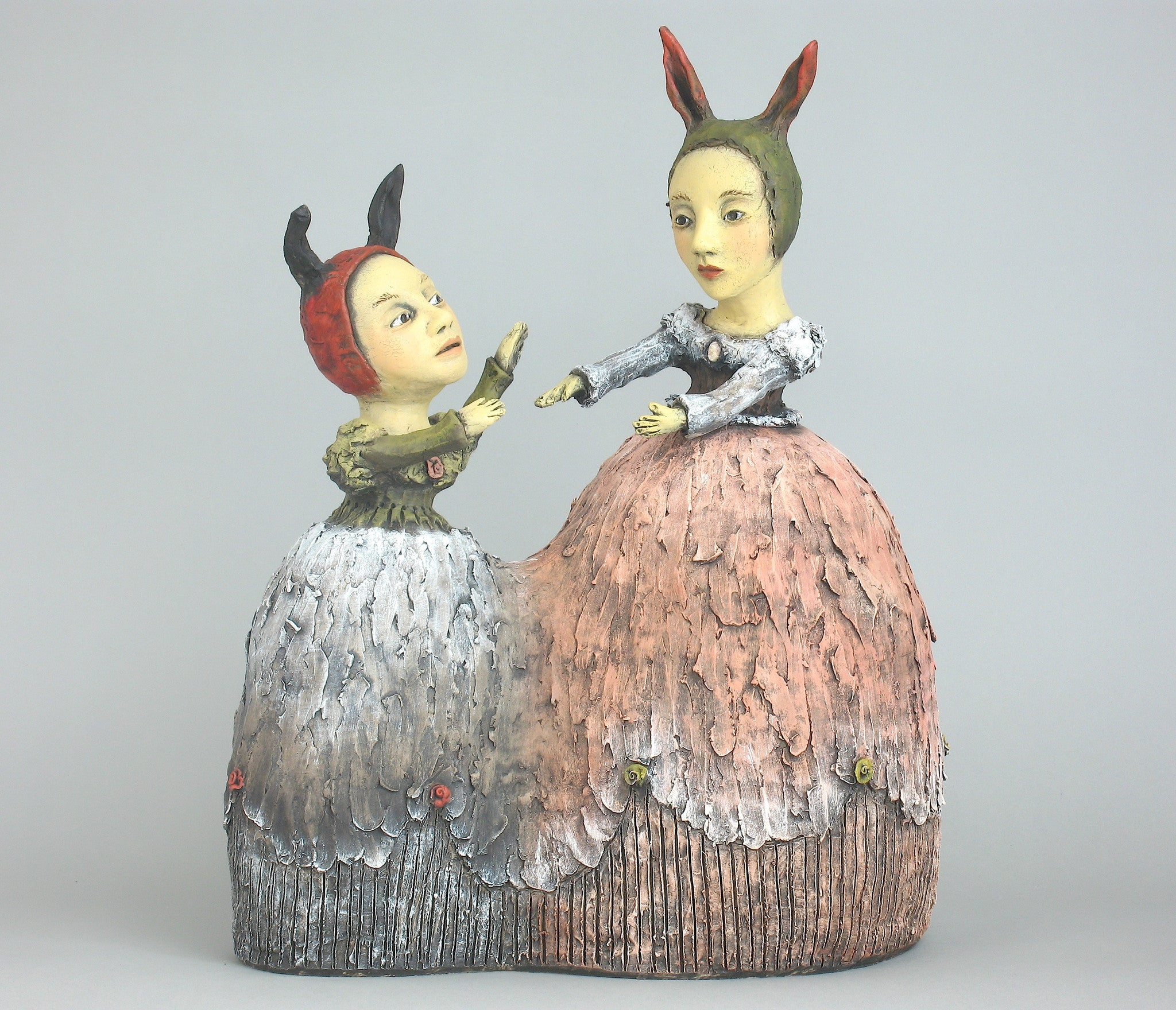 "SOLD  ""Safety Within Reach"" original ceramic sculpture by Jacquline Hurlbert"