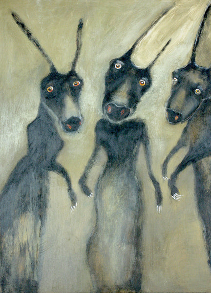 "SOLD   ""Three Little Monsters Came Out to Play, Glimpsed the Evening News and Slinked Away"""