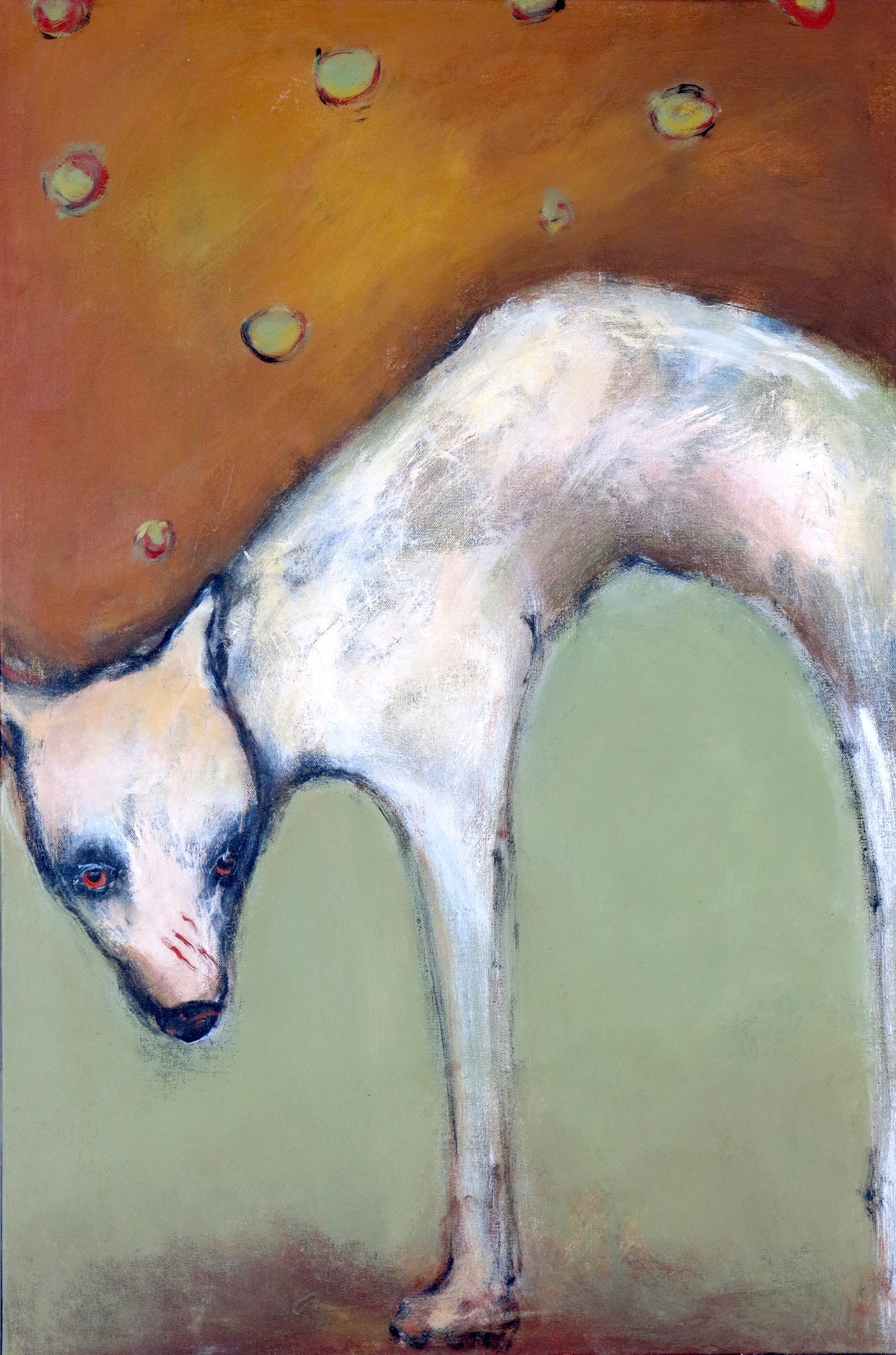 "SOLD ""Dog Stands With Arched Back, Waiting for Cat to Return"" Original Painting by Jacquline Hurlbert"