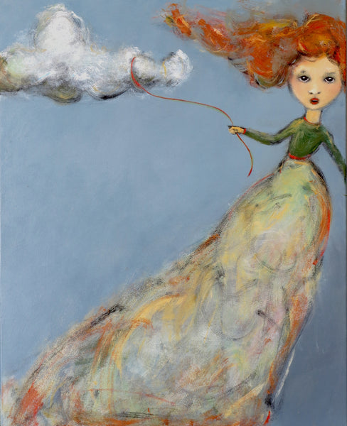 "SOLD   ""Holding On by a Thread, Tied to a Cloud"" Original Painting by Jacquline Hurlbert"