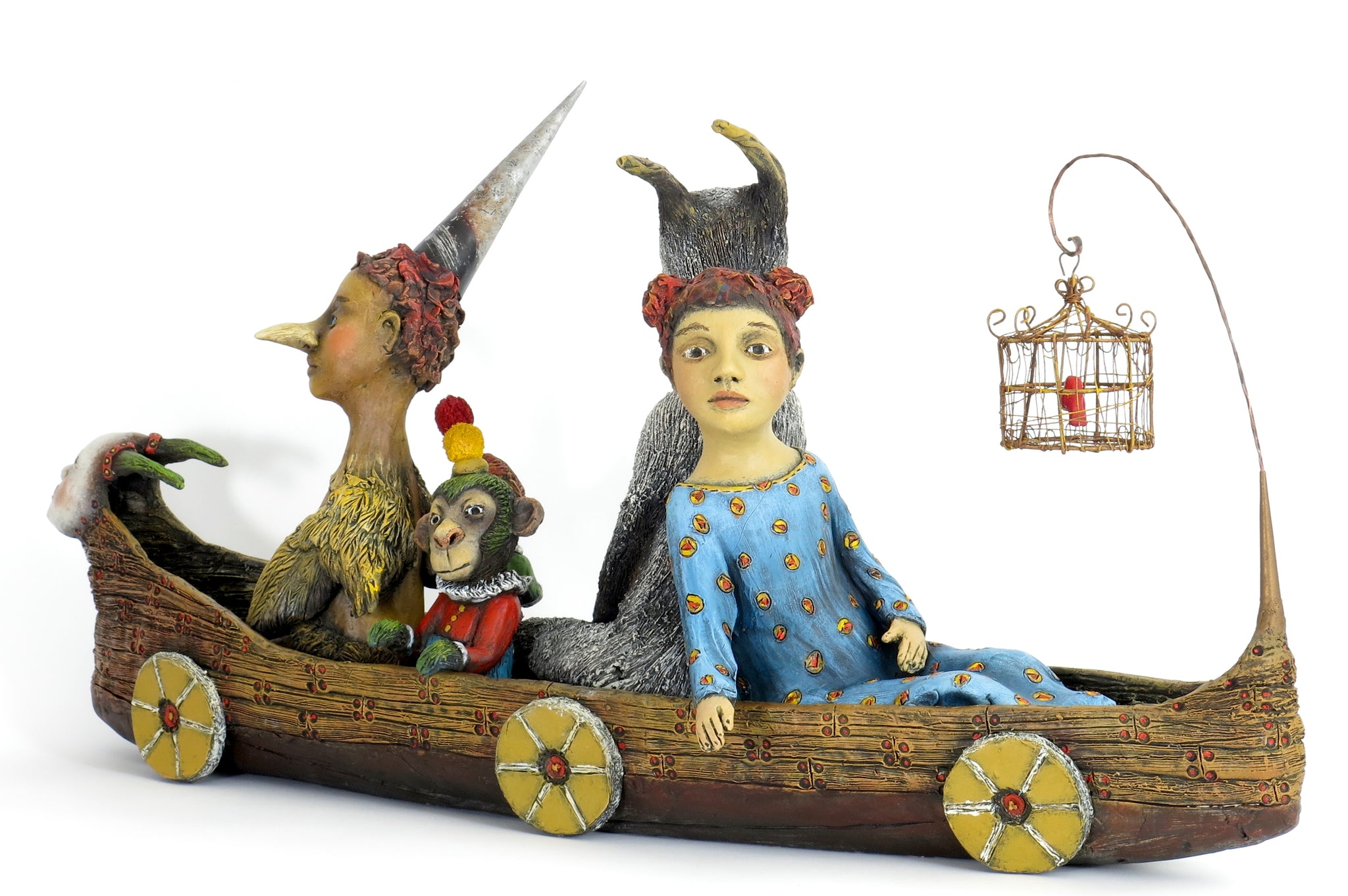"SOLD ""Setting Sail with My Inner Menagerie"" Original ceramic sculpture by Jacquline Hurlbert"