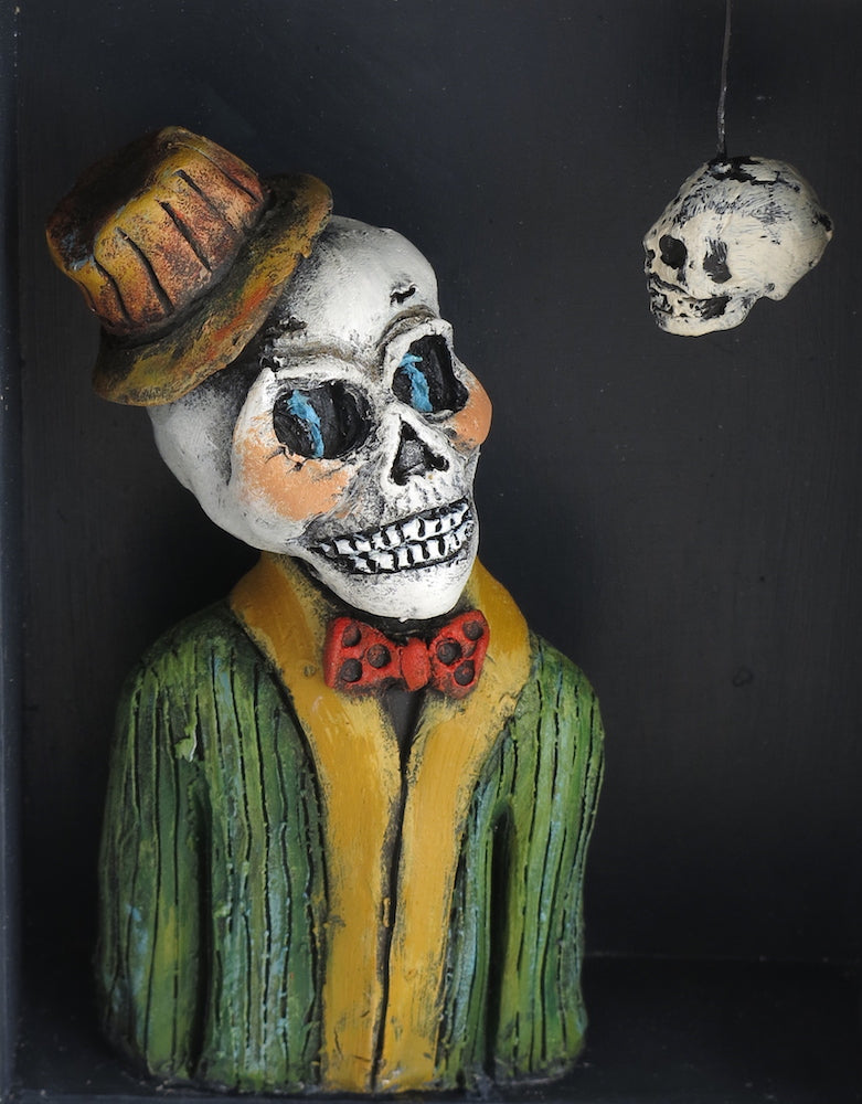 "SOLD  ""Portrait with Still Life""  Original ceramic sculpture by Jacquline Hurlbert"