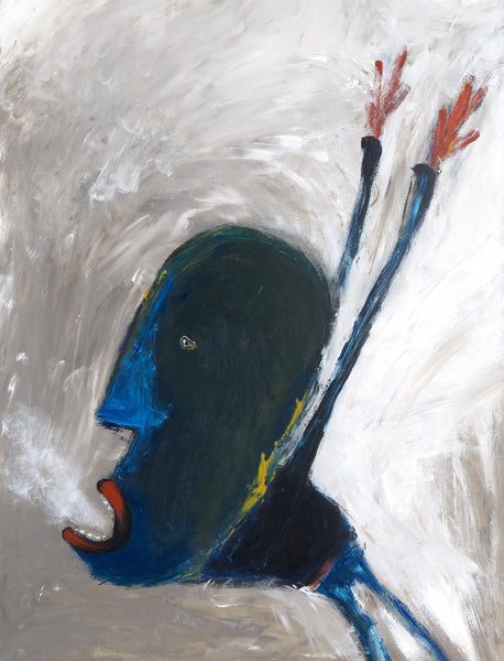 "SOLD   ""Blue Faced Man Exhales His Fears"""