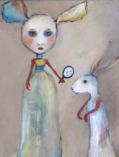 "SOLD   ""White Rabbit Visits Alice On This Side of the Looking Glass"""