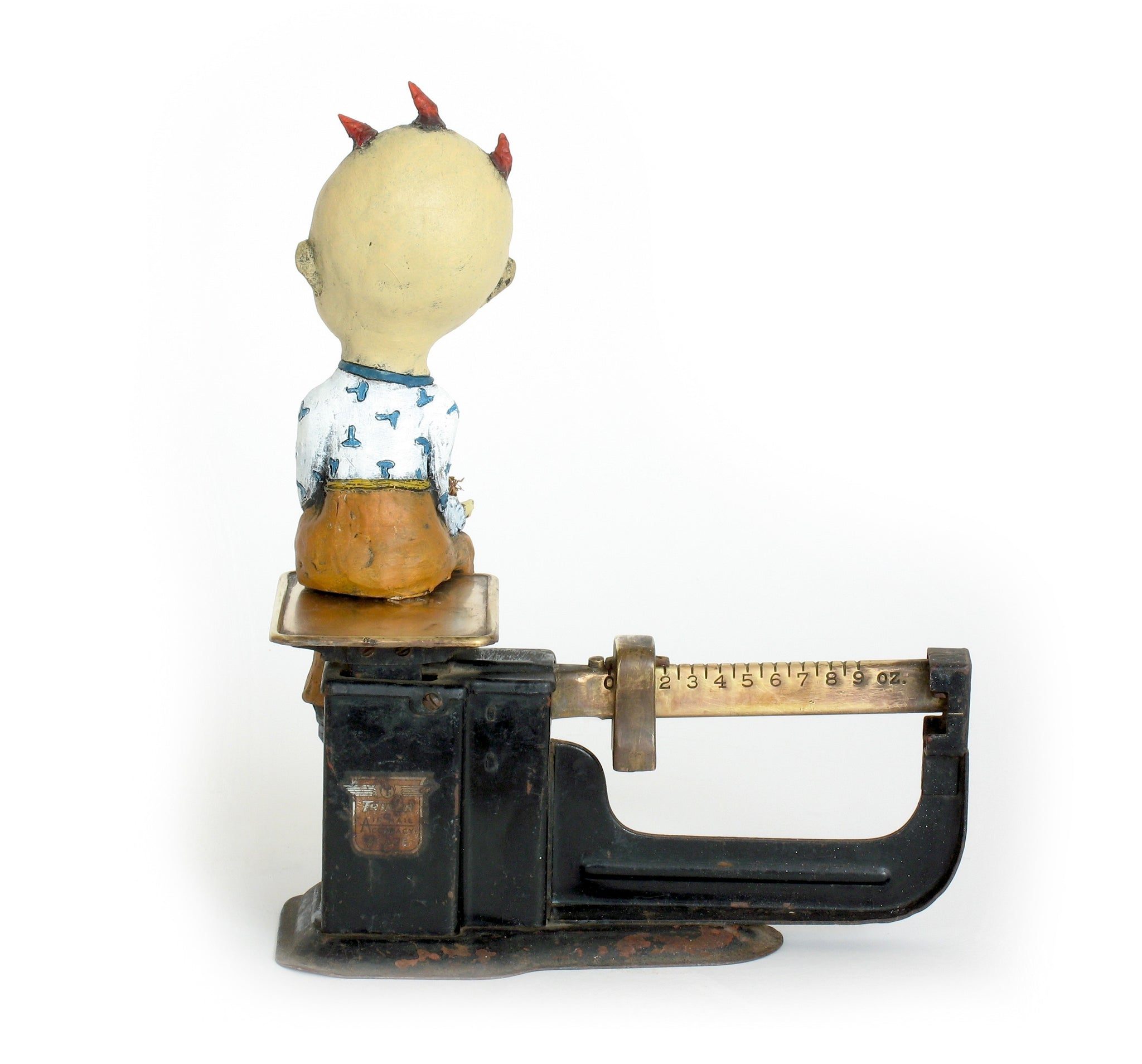 "SOLD   ""The Weight of  Responsibility""  Original Ceramic Sculpture with Antique Scale by Jacquline Hurlbert"