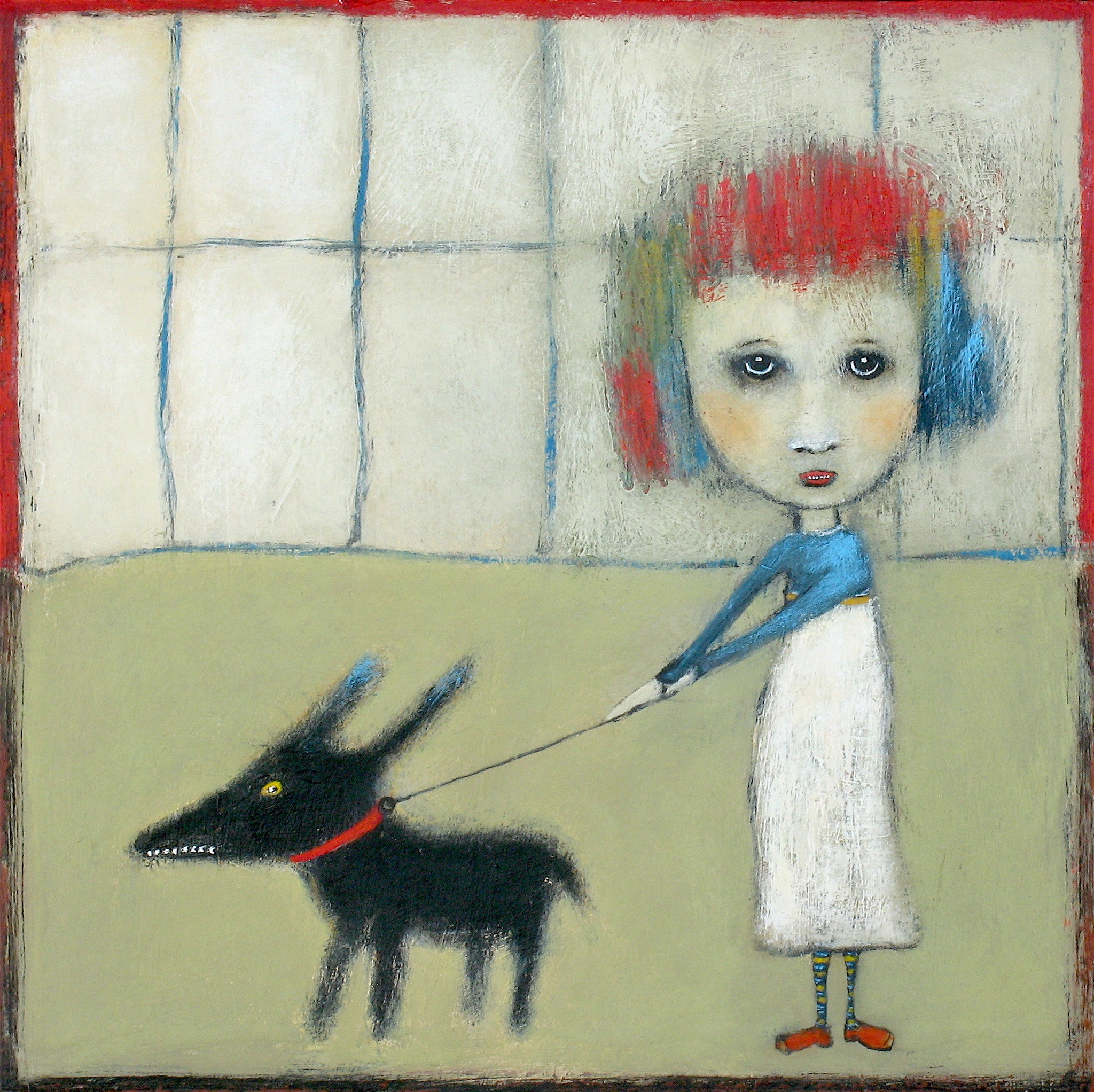 "SOLD  ""Keeping Mischief On Its Leash"""