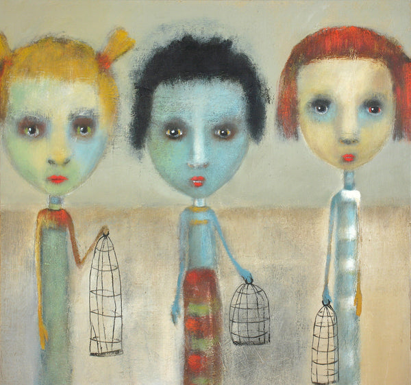 "SOLD  ""Young Girls with Fashionable Cages"" original painting by Jacquline Hurlbert"