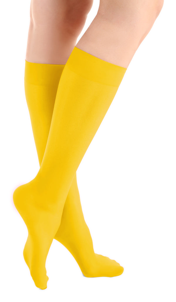 Sunshine Yellow Microfiber Knee High Tights