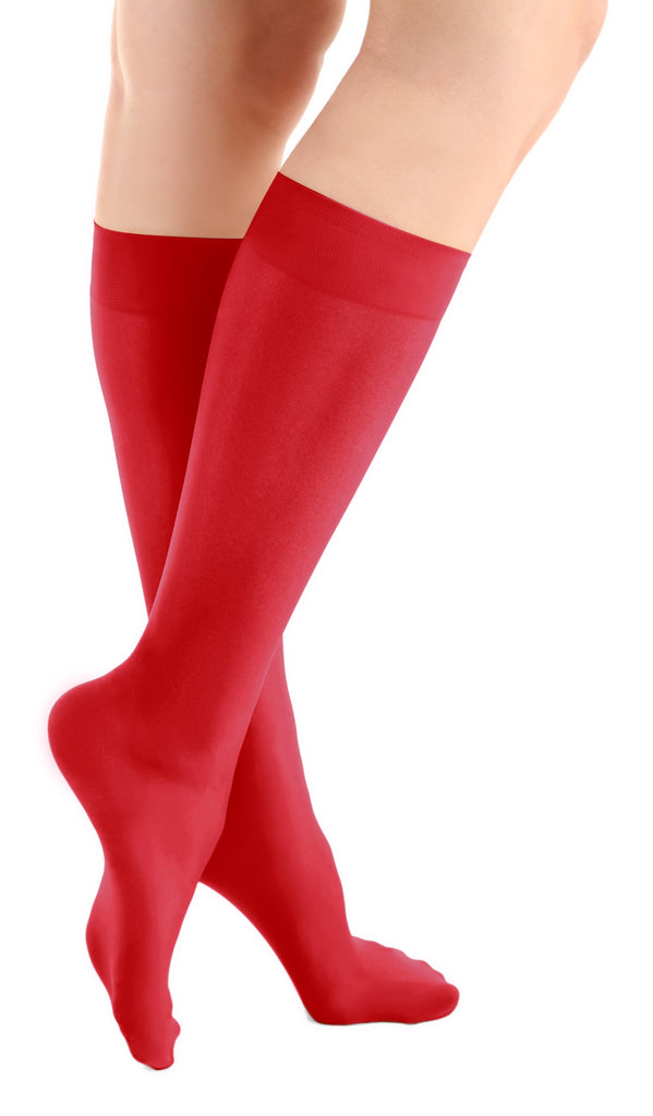 Fierce Red Microfiber Knee High Tights