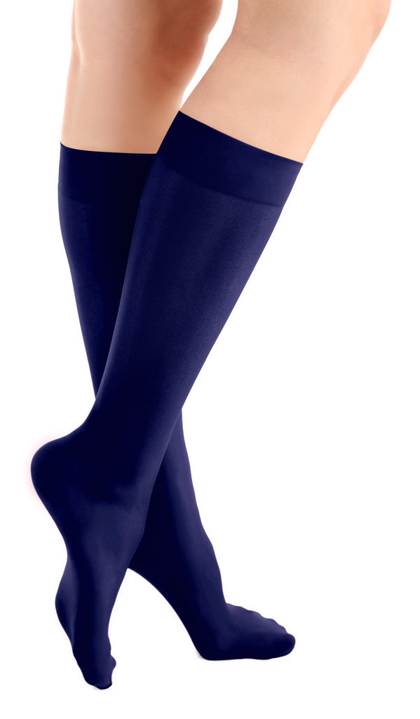 Navy Blue Microfiber Knee High Tights