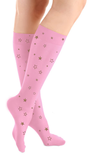 Sparkle Star Pink Microfiber Knee High Tights