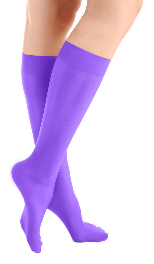 Magical Purple Microfiber Knee High Tights