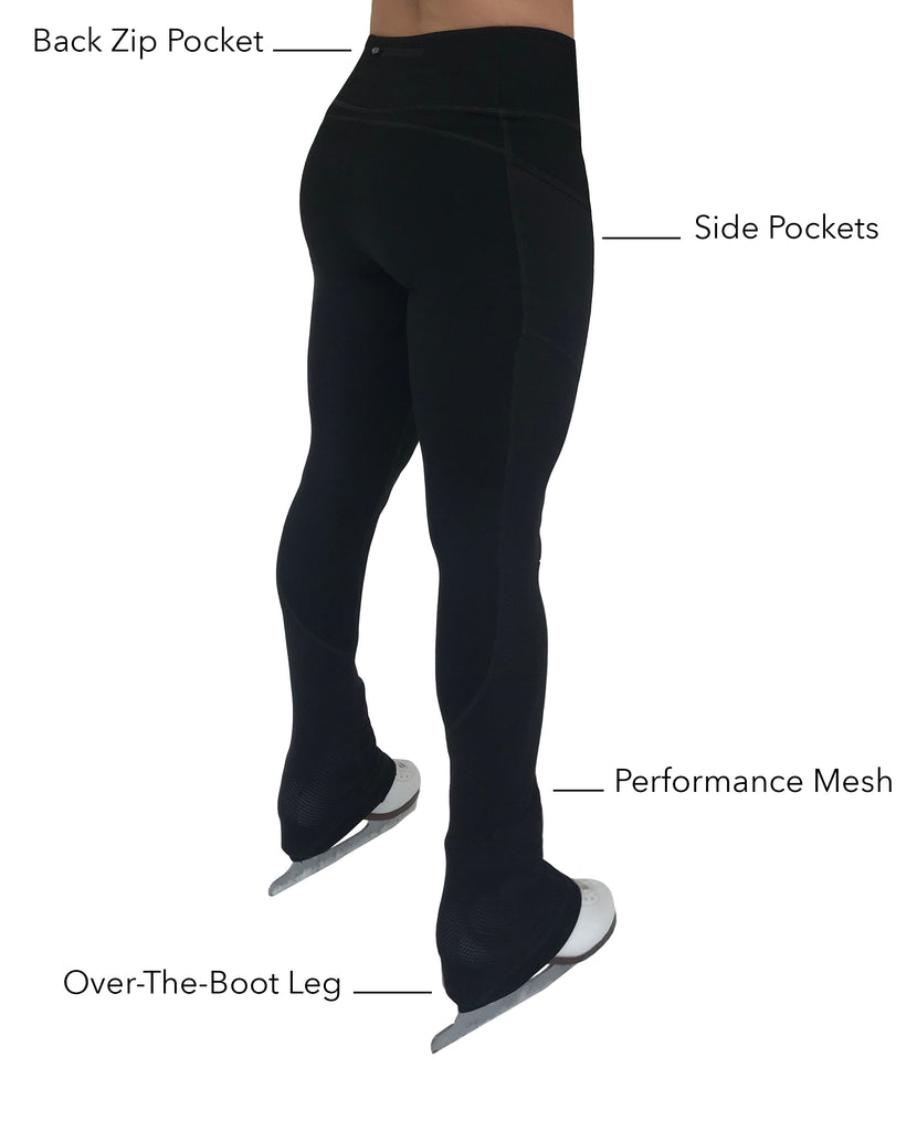 Youth Figure Skating Practice Pants with Pockets and Breathable Performance Mesh