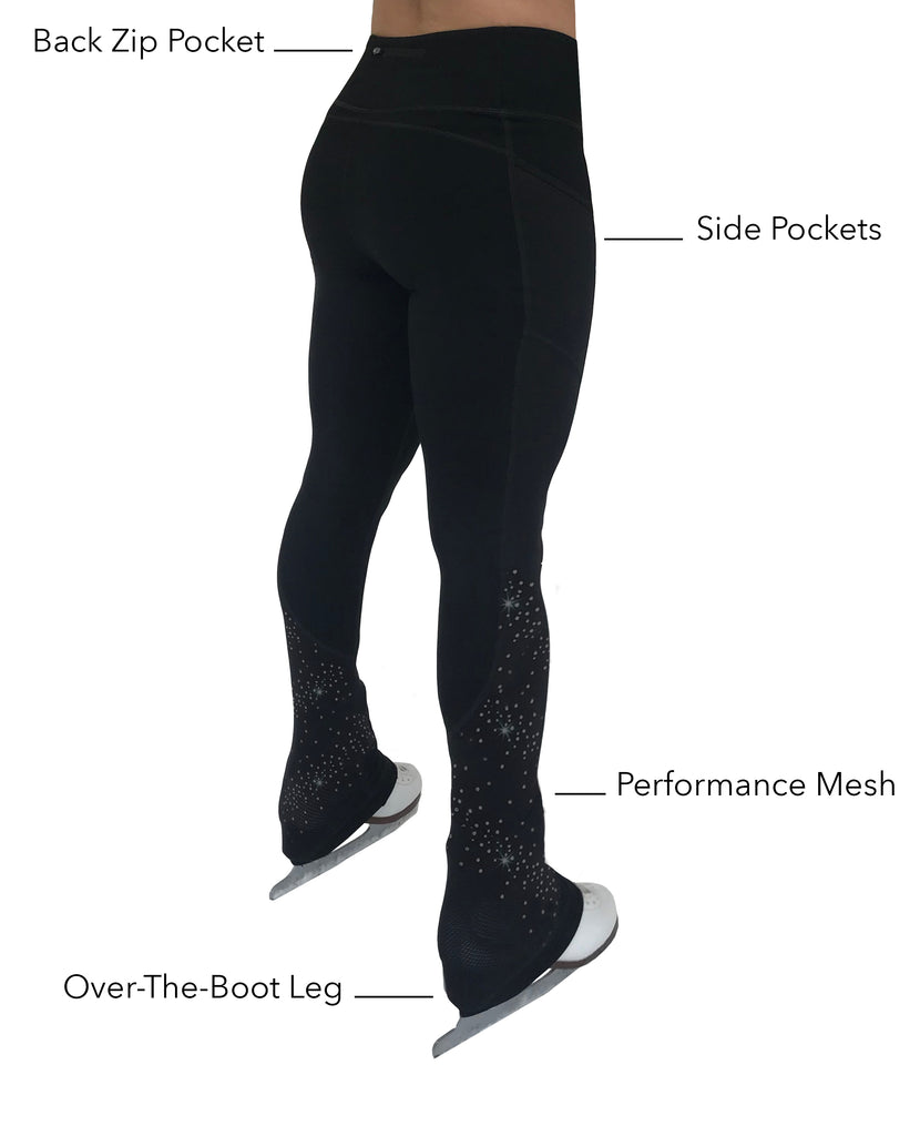 Women | Sparkle Crystal Figure Skating Practice Pants with Pockets and Breathable Performance Mesh